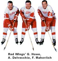 Detroit Redwings G.Howe, A.Delvecchio, and F. Mahovlich
