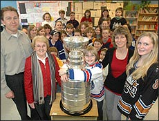 Writing Challenge Finalist Ryan Johnson with the Cup and his class