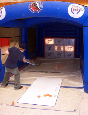 In Showdown, an electronic, full-sized hockey net provides shooters an opportunity to play a variety of games.