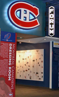 Entrance to the Montreal Canadiens replica dressing room.