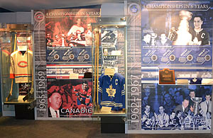 The dynasties of the Toronto Maple Leafs  and Montreal Canadiens of the 1960s are honoured in the Via Rail Stanley Cup Dynasties Zone.