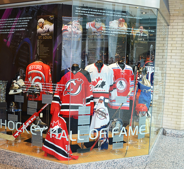 A display honouring the 2018 Hockey Hall of Fame Inductees