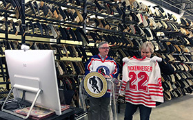 From the HHOF D.K Seaman Hockey Resource Centre, hockey historian Kevin Shea (left) and Hall of Fame Curator and Vice President Phil Pritchard, engage Indigenous students through selected artifacts and stories.