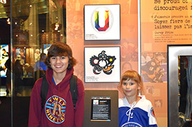 Legends of Hockey Scholar winners, Kerrigan MacLean and Marcus Allen visit their designs on display at the Hockey Hall of Fame – July 22, 2019.