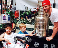 Chicago Blackhawks winger Bryan Bickell brought the Stanley Cup to Sick Kids Hospital in Toronto, Ontario.