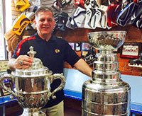 Blackhawks executive Mark Bernard brought the Stanley Cup to the famous   Kenesky's Goalie Shop in Hamilton, Ontario