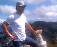 Brent Seabrook Proudly Hoists The Stanley Cup With The