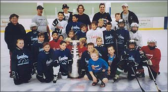 Darryl Sydor and Stanley Cup visit the hockey school at the Canadian Athletic Hockey Arena.