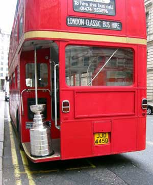 The Stanley Cup rides the double-deckers