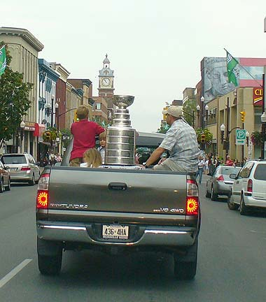The Stanley Cup and Cory Stillman go parading through the streets of Peterborough in 2006