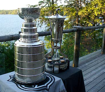 The Stanley Cup and the Prince of Wales Trophy go cottage-hopping along Lake