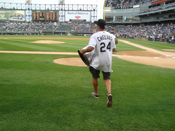 Chris Chelios throws out the first pitch at a Chicago White Sox home game at U.S. Cellular Field.
