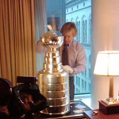 Phil Pritchard of the Hockey Hall of Fame prepares the Stanley Cup prior to Game Six of the 2010 Stanley Cup Finals