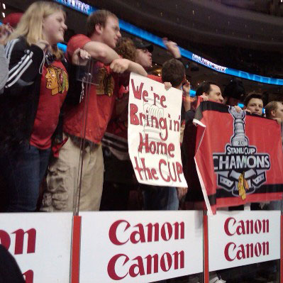 Chicago Blackhawks fans show their support in Philadelphia during Game Six of the 2010 Stanley Cup Final.