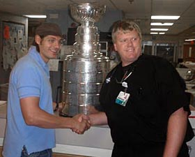 Brent Sopel and the Stanley Cup stop by a local hospital