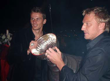 Tomas Kopecky, Marian Hossa and the Stanley Cup attended a party held at the Trencin Castle.