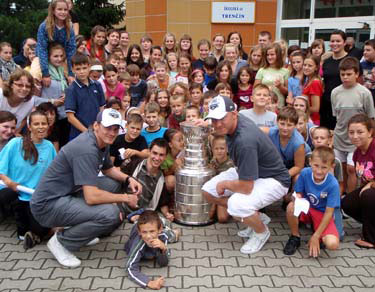Tomas Kopecky and Marian Hossa brought the Stanley Cup to a local high school in Trencin.