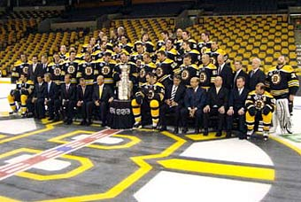 The Boston Bruins getting ready for the official Stanley Cup Champion team photo