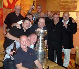 The Stanley Cup was brought to The Steak House in Minneapolis, where the Boston Bruins were holding their scouts dinner and celebration.
