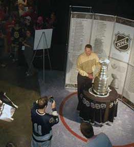 Hundreds of fans lined-up to get their picture taken with the Stanley Cup at the Xcel Energy Center in Saint Paul, home of the Minnesota Wild and for two  days the 2011 NHL Entry Draft.