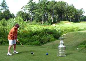 Bruins assistant coach Geoff Ward brought the Stanley Cup to Butter Brook Golf Club in Westford, MA