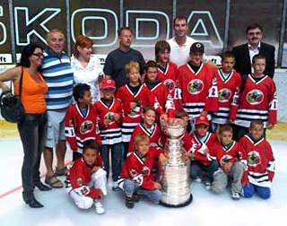 Zdeno Chara and the Stanley Cup visited Trencin Zimny Arena in Trencin, Slovakia.