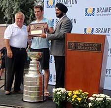 Tyler Seguing be presented the key to the City of Brampton.