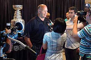 With the Stanley Cup on display, Claude Julien answered questions from the media at Tudor Hall.