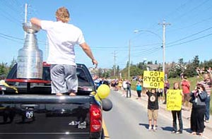 Fans cheering on Michael Ryder and the Stanley Cup during a parade in Bonavista, Newfoundland.