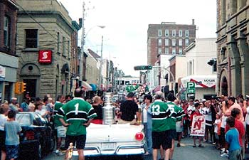 New Glasgow, Nova Scotia honoured their local hockey hero with a parade through the streets of their town.