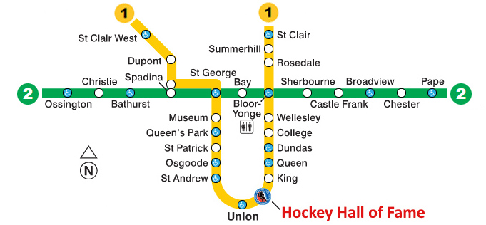 Toronto Subway Map.Getting To The Hhof From In Town