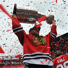 Marian Hossa hoisted the Stanley Cup three times, all with the Chicago Blackhawks (Craig Campbell/HHOF).