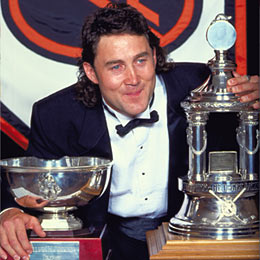 Belfour won the Vezina Trophy on two occasions and the William M. Jennings Trophy four times