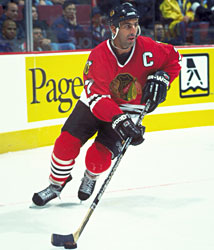 Chelios would serve as captain of the Blackhawks from 1995-1999.