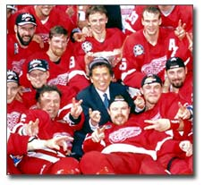 Ilitch with his team The Detroit Red Wings