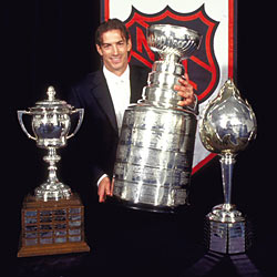 In 2001 Sakic won The Stanley Cup, Hart Memorial Trophy, the Lady Byng Memorial Trophy (seen here) as well as the Lester B. Pearson Award.