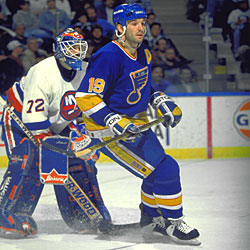 Shanahan reached the 50 goal mark in consecutive seasons with the St. Louis Blues.