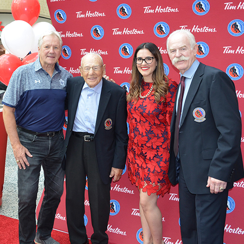 Honoured Members Darryl Sittler, Johnny Bower and Lanny McDonald were on hand to help owner, Angela Hage