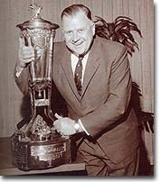 Harold hugs the hardware after Ballard's Leafs won the Prince of Wales Trophy in 1963