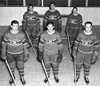 Bill Durnan with his starting Montreal line-up, including Maurice Richard, Elmer Lach & Toe Blake - the Punch Line