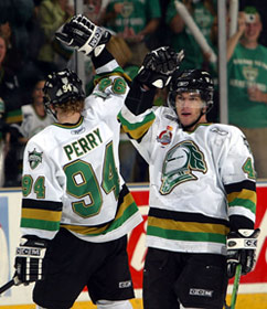 Corey Perry #94 and Danny Fritsche #49 of the London Knights celebrate a goal in their 4-0 victory over the Rimouski Oceanic in the Memorial Cup Final at the John Labatt Centre, London, Ontario.