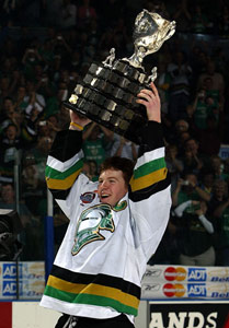 Captain Danny Syvret #25 of the London Knights hoists the Memorial Cup at the John Labatt Centre, London, Ontario. The London Knights defeated the Rimouski Oceanic 4-0 to win the Memorial Cup.