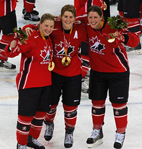 Canada's Sherie Piper, Haley Wickenheiser and Gillian Apps