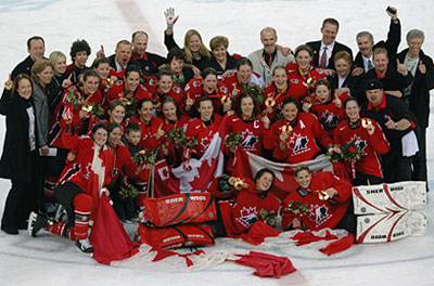 Canadian players celebrating after a goal against Sweden in the gold medal game at the 2006 Olympic Winter Games in Turin, Italy