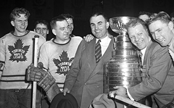 Bill Barilko Juzda Coach Joe Primeau Turk Broda And Fern Flaman After Winning The 1951 Stanley Cup Imperial Oil Turofsky Hockey Hall Of Fame