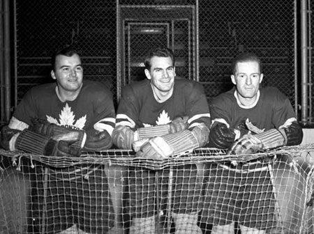 Gordie Drillon, Syl Apps and Nick Metz of the Toronto Maple Leafs.