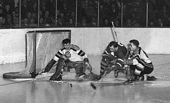 In his first season with the Boston Bruins, Frank Brimsek had a total of 33 wins and led the league with 10 shutouts.