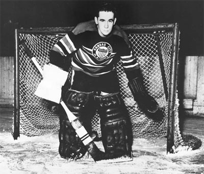 Emile Francis during his playing days with the Chicago Blackhawks' farm team in Kansas City