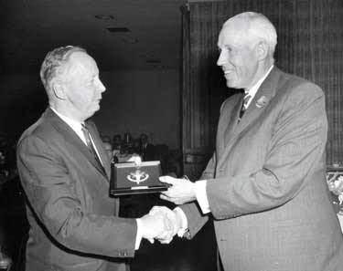 In 1965 Clarence Campbell (right) welcomed Foster Hewitt (left) to the Hockey Hall of Fame.