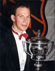Joe Mullen pictured with the Lady Byng Trophy
